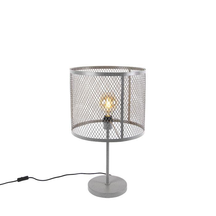 Industrielle-runde-Tischlampe-Antiksilber---Cage-Robusto