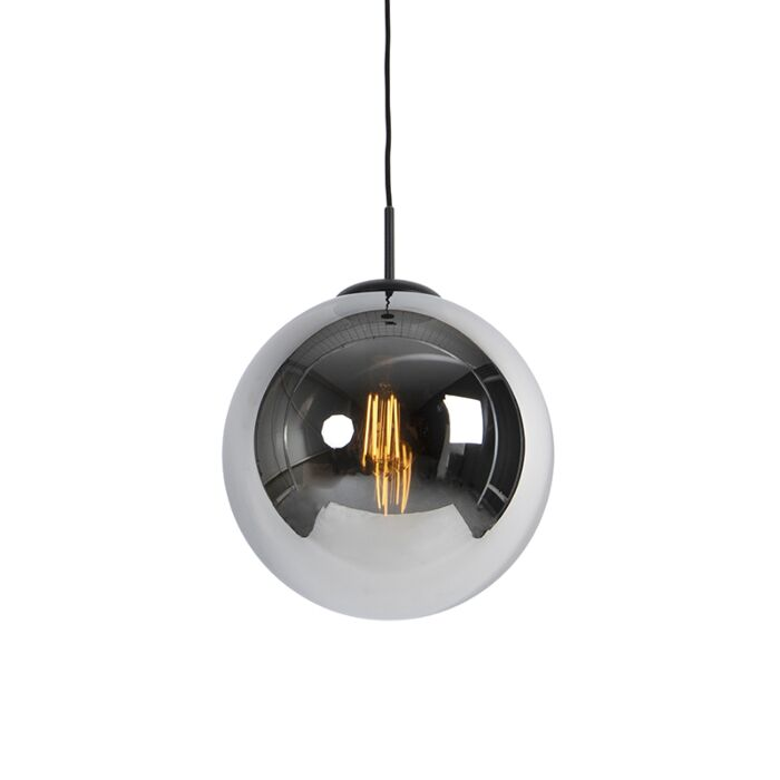 Art-Deco-Hängelampe-schwarz-mit-Rauchglas-1-Licht---Pallon