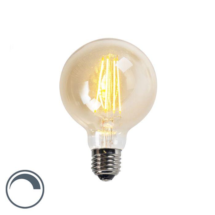 Filament-LED-Lampe-G95-5W-2200K-Gold-dimmbar