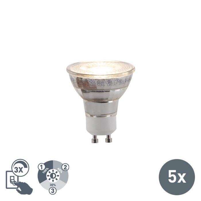Set-mit-5-dreistufigen-dimmbaren-LED-Lampen-GU10-5W-300lm