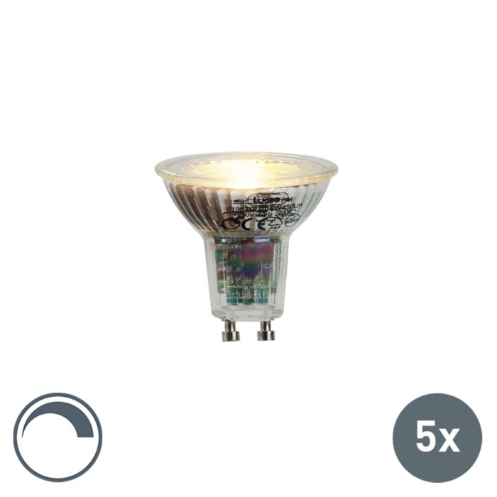 5er-Set-GU10-LED-Lampe-6W-450lumen-2700K-dimmbar