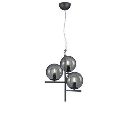 Art-Deco-Hängelampe-schwarz-mit-Rauchglas-3-flammig---Flore