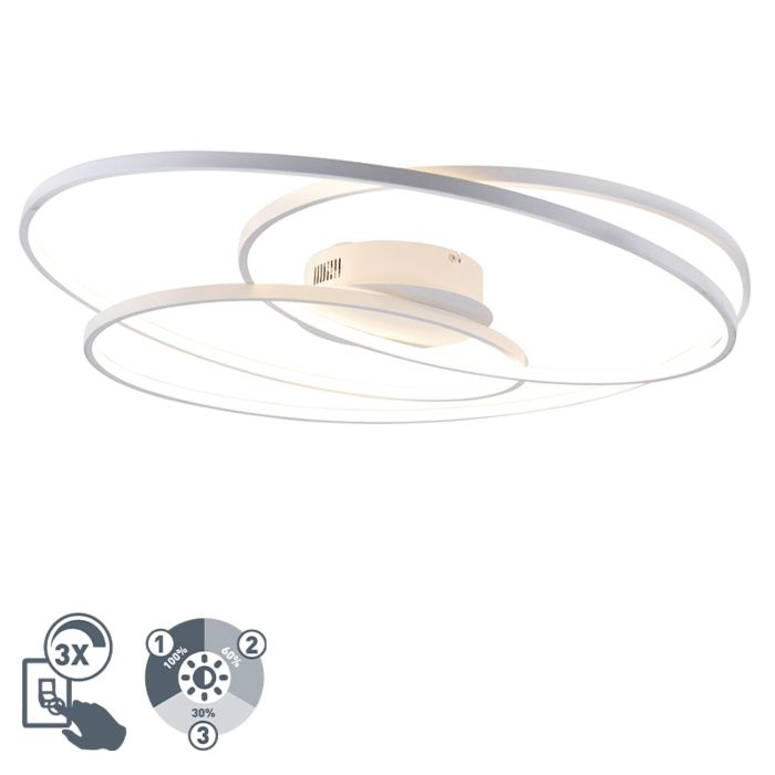 Deckenleuchte-weiß-80-cm-inkl.-LED-3-stufig-dimmbar---Rowin