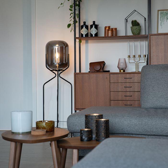 Design-Stehleuchte-schwarz-mit-Rauchglas---Bliss