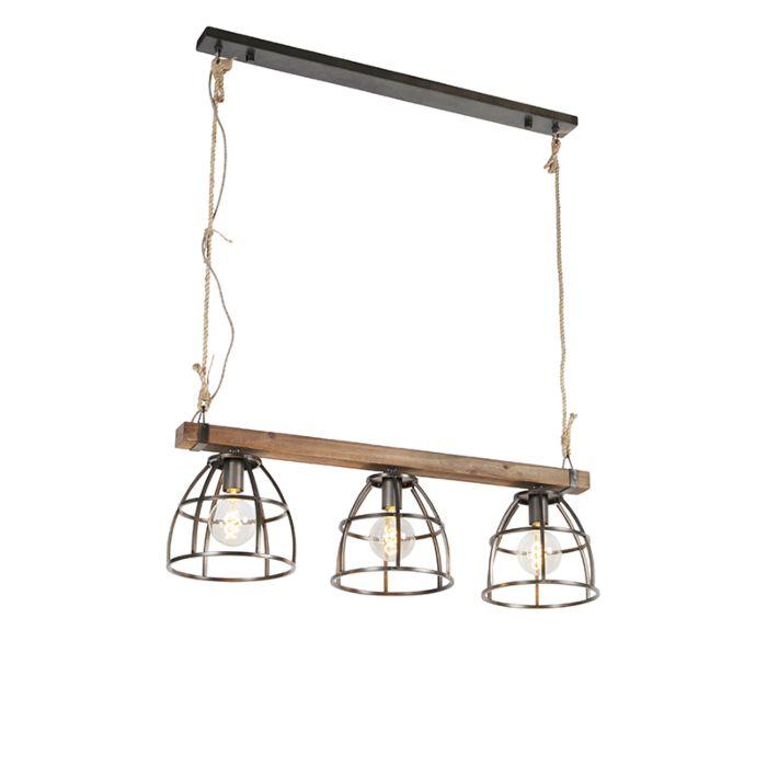 Industrielle-Hängelampe-schwarz-mit-Holz-3-Licht---Arthur