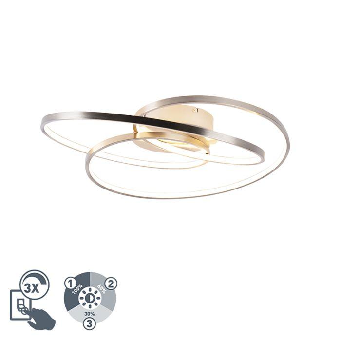 Deckenleuchte-Stahl-60-cm-inkl.-LED-3-stufig-dimmbar---Rowin