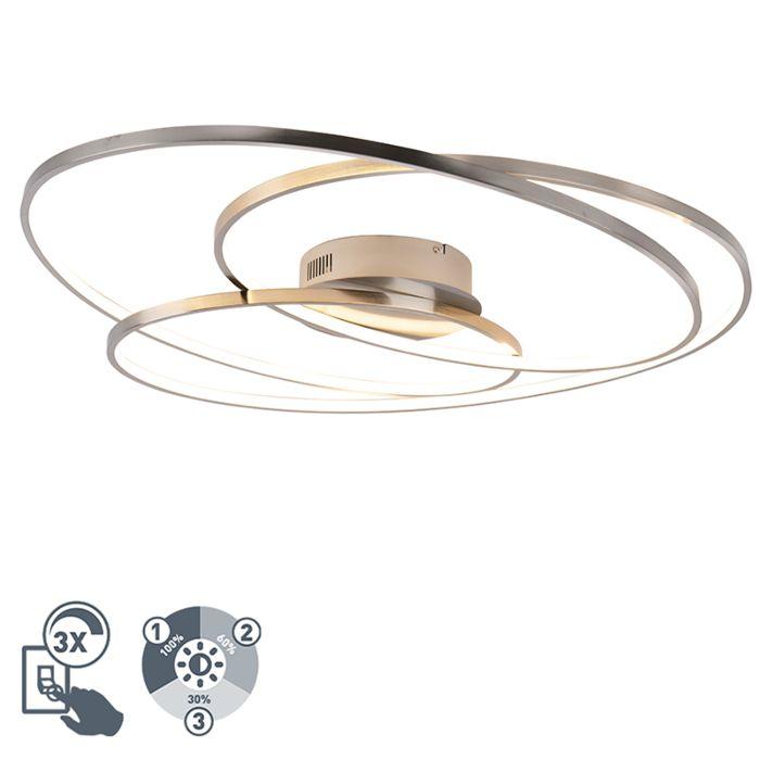 Deckenleuchte-Stahl-80-cm-inkl.-LED-3-stufig-dimmbar---Rowin