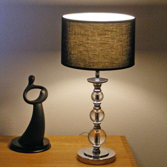 Calabash-Tischlampe-Chrom-mit-schwarzem-Schirm