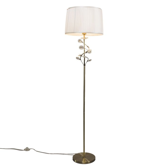 Antike-Bronze-Stehlampe-mit-Rüschen