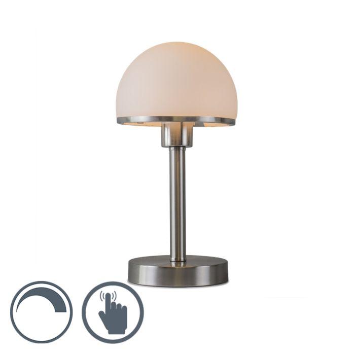 Tischleuchte-Bauhaus-stahl-mit-Touch