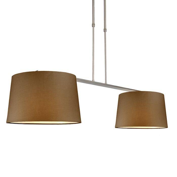 Hängelampe-Combi-Delux-2-Schirm-rund-40cm-braun