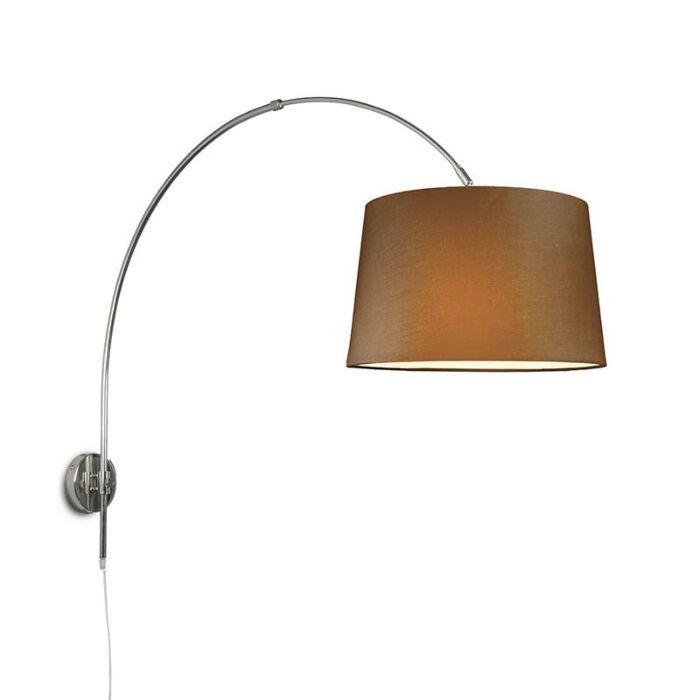 Wandbogenlampe-Chrom-mit-Schirm-40-cm-braun