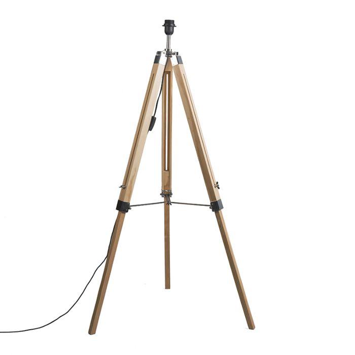 Stehleuchte-im-Landhausstil-Holz-ohne-Lampenschirm---Stativ