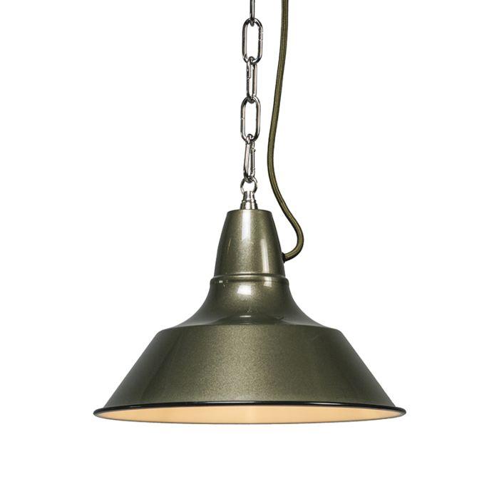 Pendelleuchte-Gestel-grün/grau