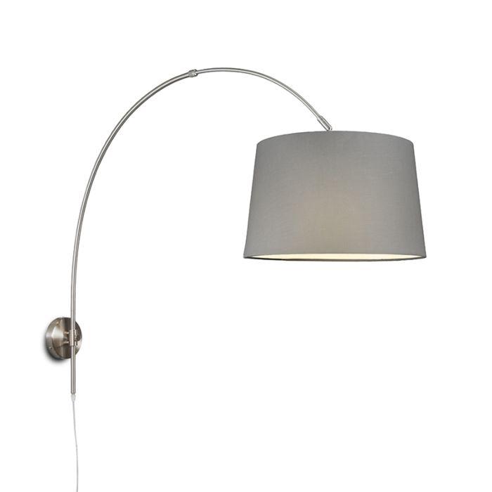 Wandbogenlampe-Stahl-mit-Schirm-40-cm-grau