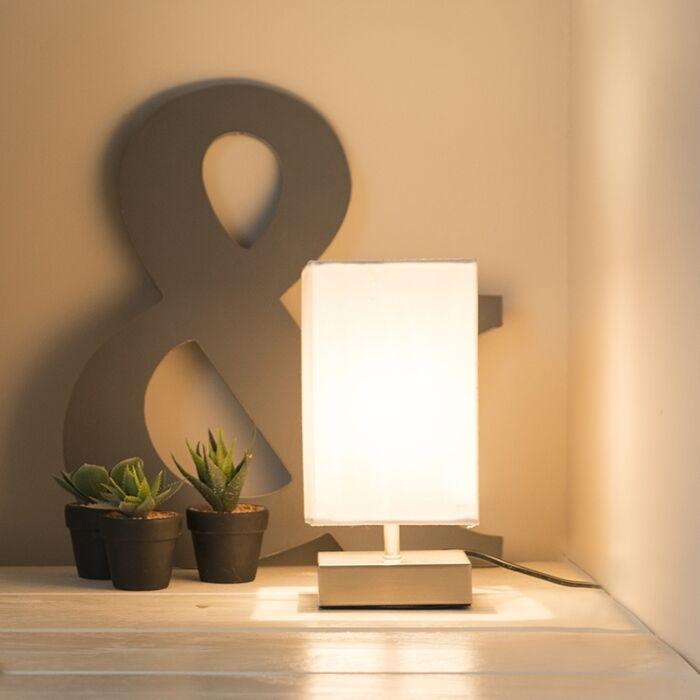 Moderne-Tischlampe-weiß-mit-Stahl---Milo
