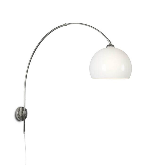 Wandbogenlampe-Chrom-mit-Birnenopal