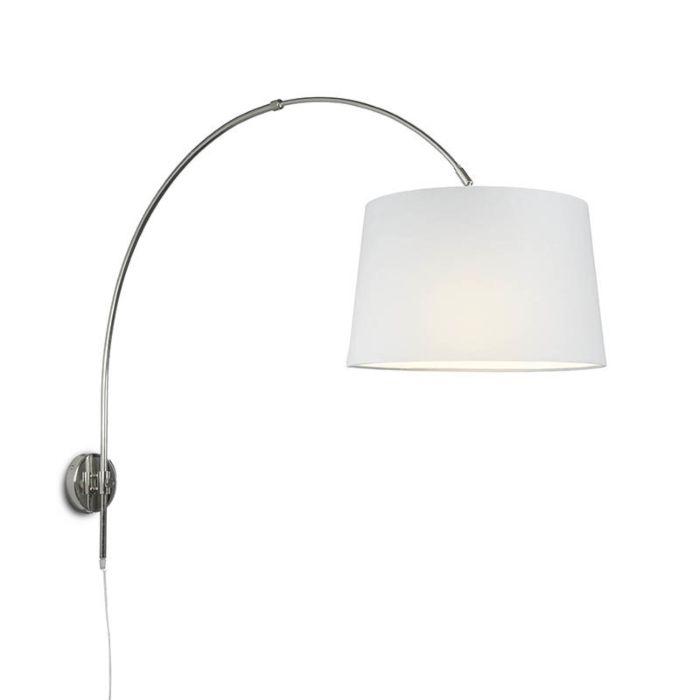 Wandbogenlampe-chrom-mit-Schirm-40cm-weiß