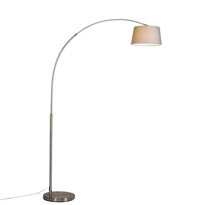 Moderne-Bogenlampe-Stahl-mit-grauem-Stoffschirm---Arc-Basic