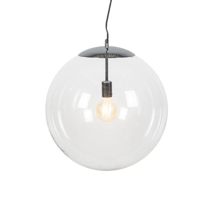 Skandinavische-Hängelampe-Chrom-mit-Klarglas---Ball-50