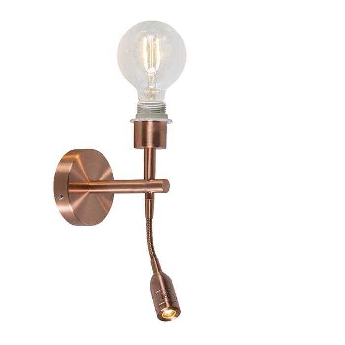 Wandleuchte-Combi-1-LED-Leseleuchte-Kupfer-ohne-Schirm