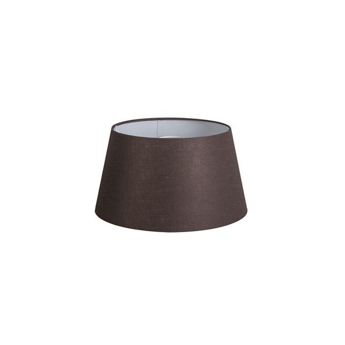 Lampenschirm-32cm-rund-DS-E27-Leinen-braun
