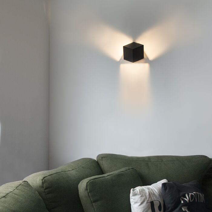 Moderne-Wandleuchte-schwarz---Cube