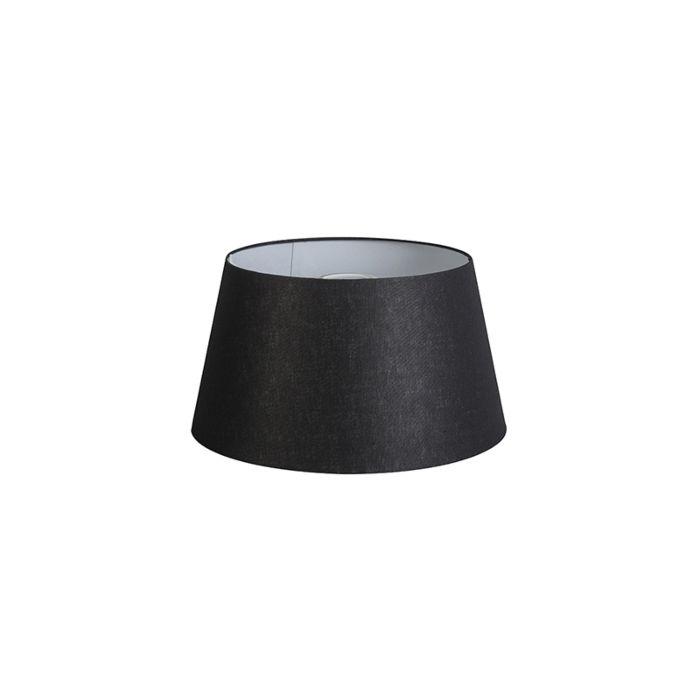 Lampenschirm-32cm-rund-DS-E27-leinen-schwarz