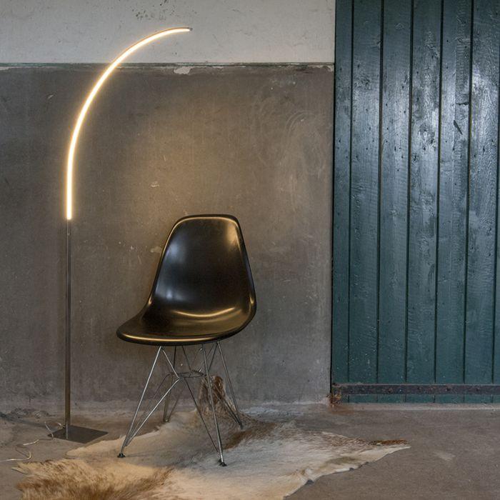 Moderne-Stehleuchte-Stahl-inkl.-LED-und-3-Stufen-Dimmer---Stylish