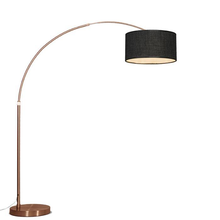 Bogenlampe-Kupfer-mit-Schirm-dunkelgrau