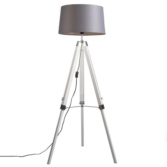 Industrielle-Stehlampe-weiß-mit-grauem-Leinenschirm---Stativ