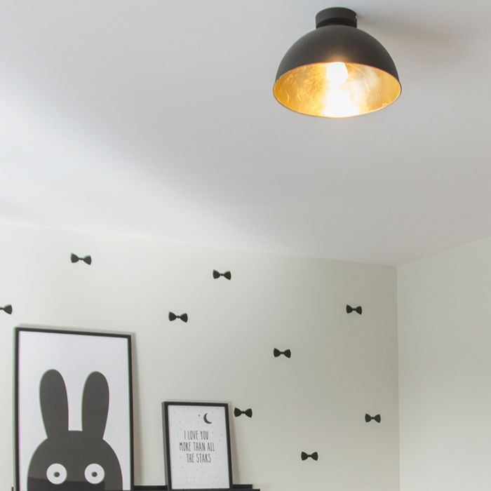 Moderne-runde-Deckenlampe-schwarz---Magna-Basic