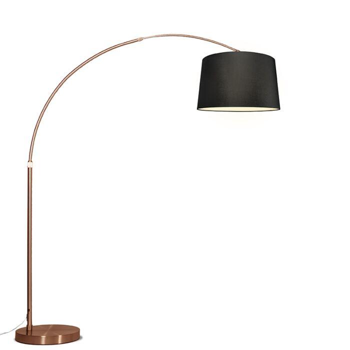 Bogenlampe-Kupfer-mit-Schirm-schwarz