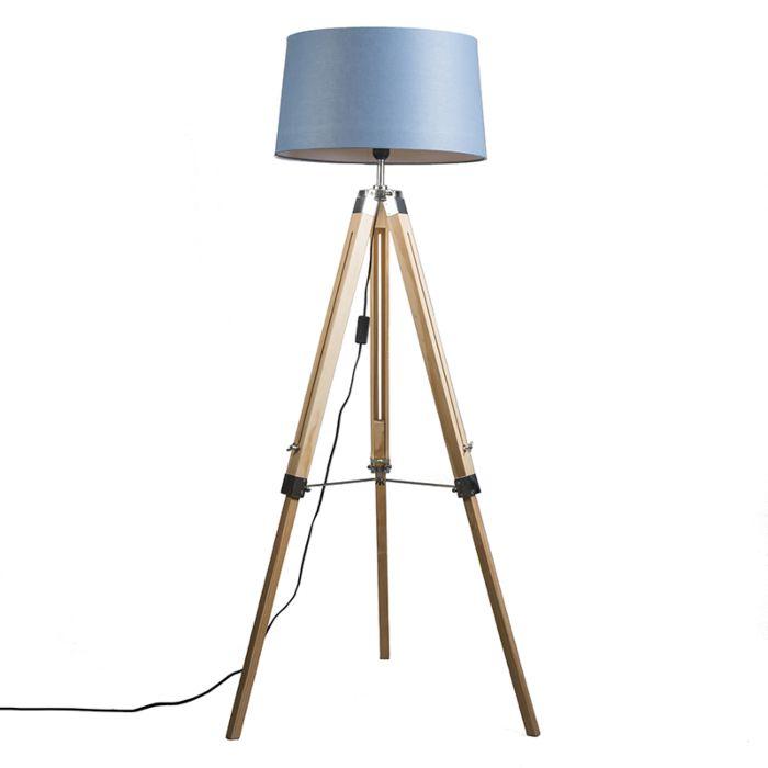 Stehleuchte-Tripod-natur-mit-Schirm-45cm-leinen-blau