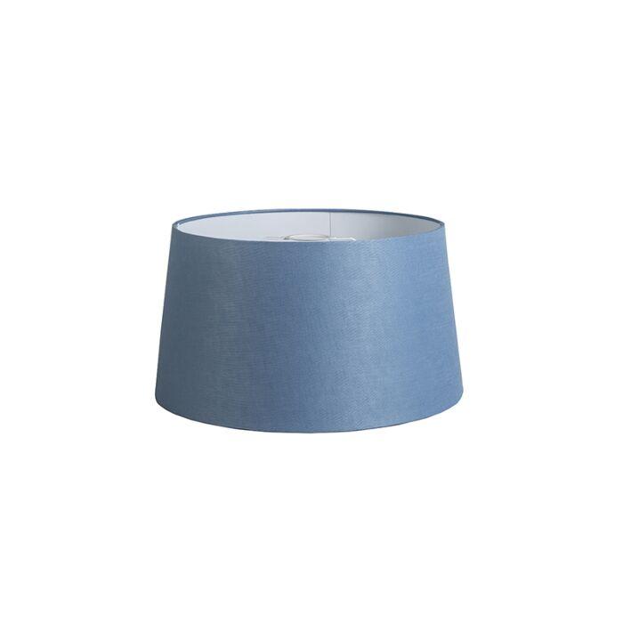 Lampenschirm-40cm-rund-DS-E27-Leinen-blau