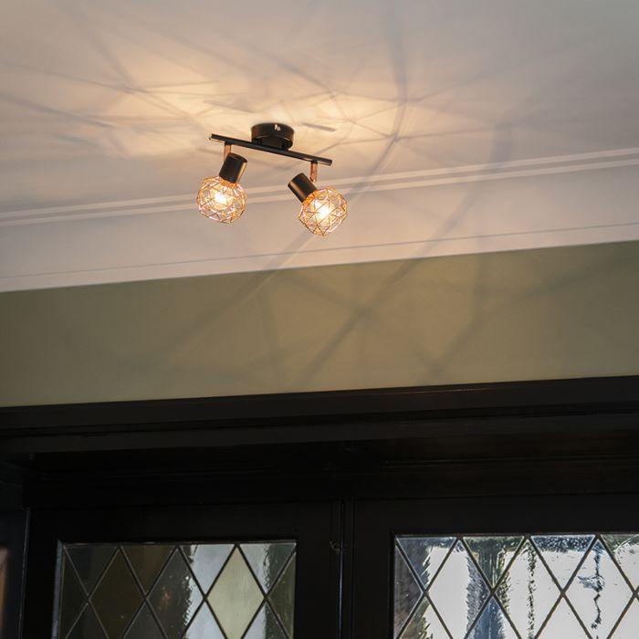 Moderner-Deckenstrahler-schwarz-mit-zwei-kupfernen-Lampenschirmen---Mesh-2