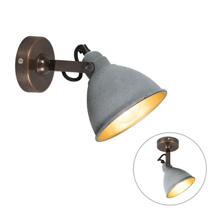 Industrielle-Wandleuchte-grau-mit-Bronze---Liko
