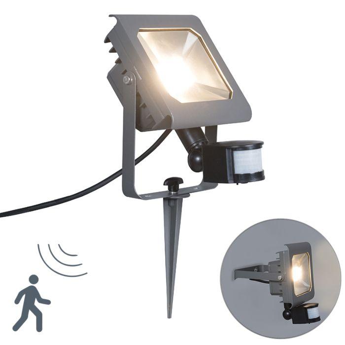 LED-Strahler-Radius-2-30W-PIR-dunkelgrau-mit-Bodenspieß