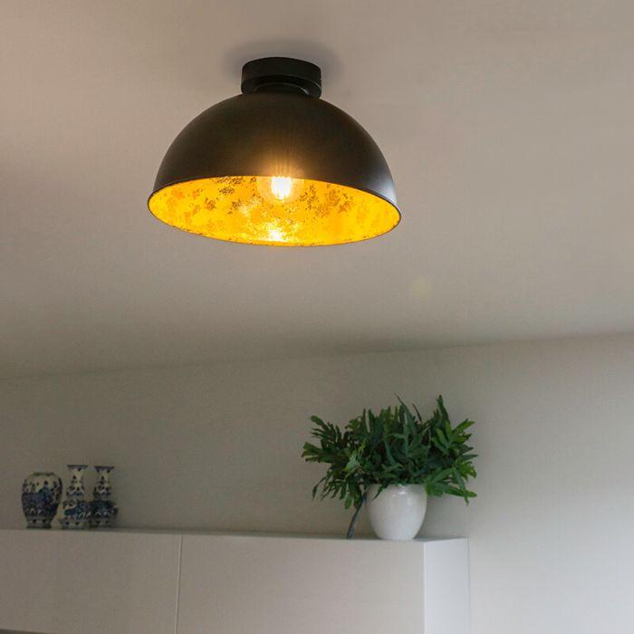 Industriedeckenlampe-schwarz-mit-Gold-30-cm---Magna-Basic