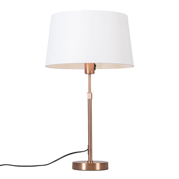 Kupfer-Tischlampe-mit-Schirm-weiß-35-cm-verstellbar---Parte