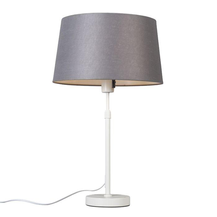 Tischleuchte-weiß-mit-Schirm-grau-35-cm-verstellbar---Parte