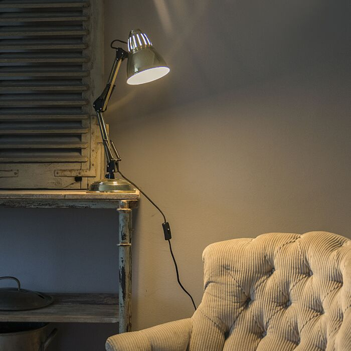 Retro-Tischlampe-Messing-verstellbar---Buzz