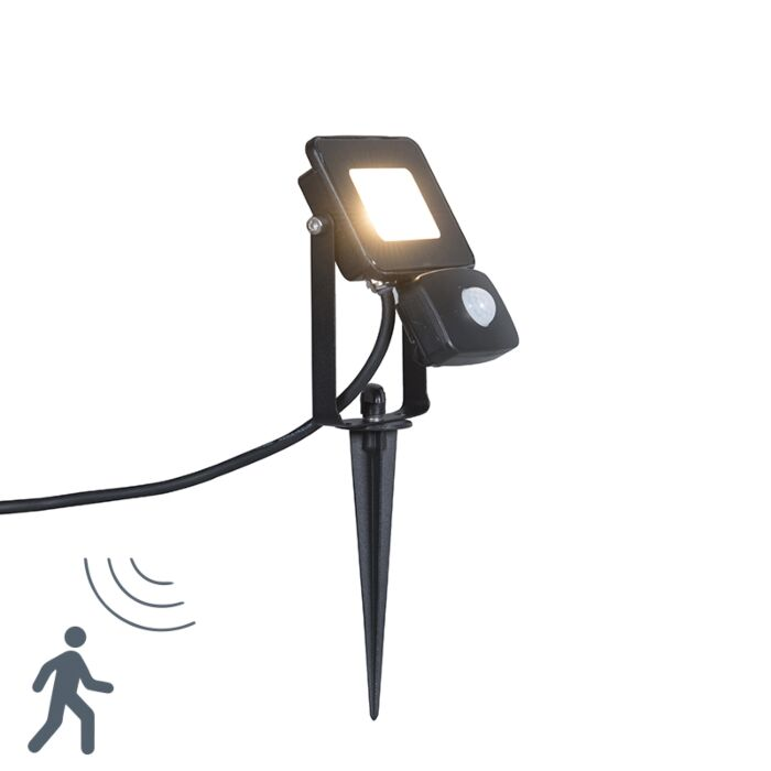 LED-Strahler-Radius-1-10W-PIR-schwarz-mit-Erdspieß