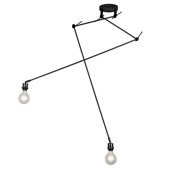 Moderne-Hängelampe-schwarz-ohne-Schirm---Blitz-II