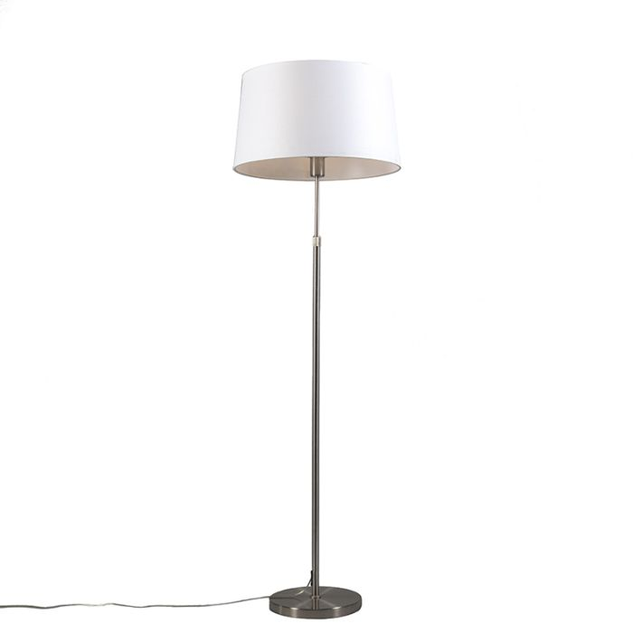 Stehleuchte-Stahl-mit-Lampenschirm-weiß-verstellbar-45-cm---Parte