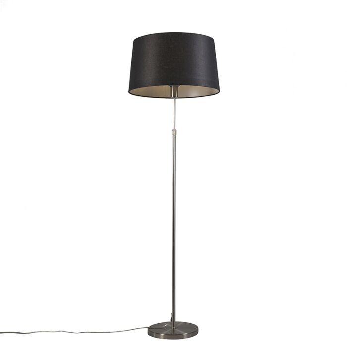 Stehleuchte-Stahl-mit-schwarzem-Lampenschirm-45-cm-höhenverstellbar---Parte