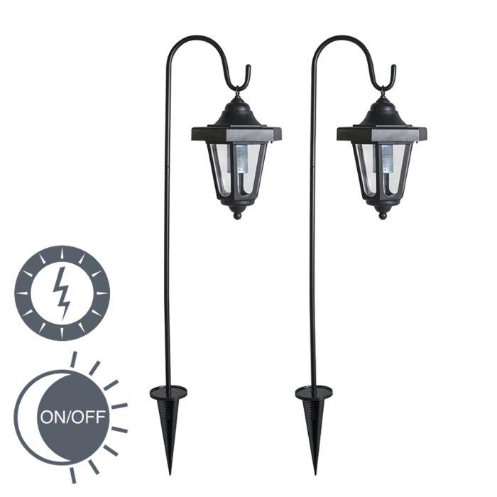 Spießleuchte-Lintera-schwarz-LED-Solar-2er-Set