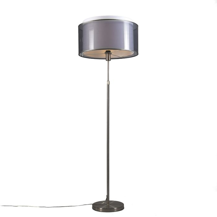 Stehlampe-aus-Stahl-mit-schwarz-/-weißem-doppellagigem-Lampenschirm-47-cm-verstellbar---Parte