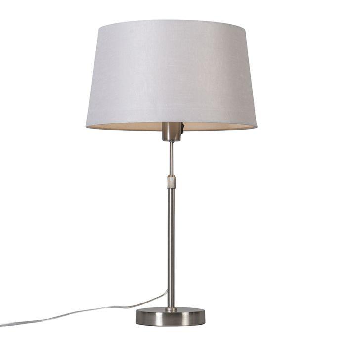 Tischleuchte-Stahl-mit-Schirm-hellgrau-35-cm-verstellbar---Parte