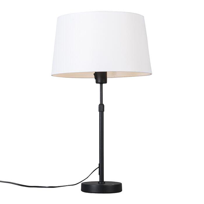 Tischleuchte-schwarz-mit-weißem-Schirm-35-cm-verstellbar---Parte